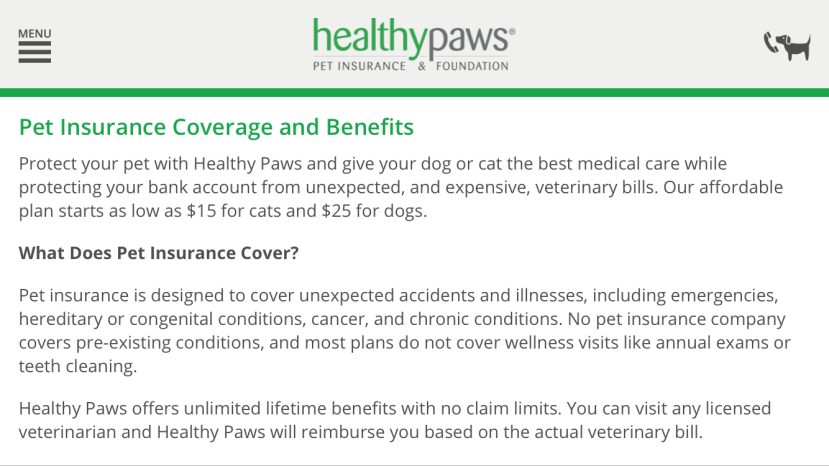 healthy paws insurance screenshot